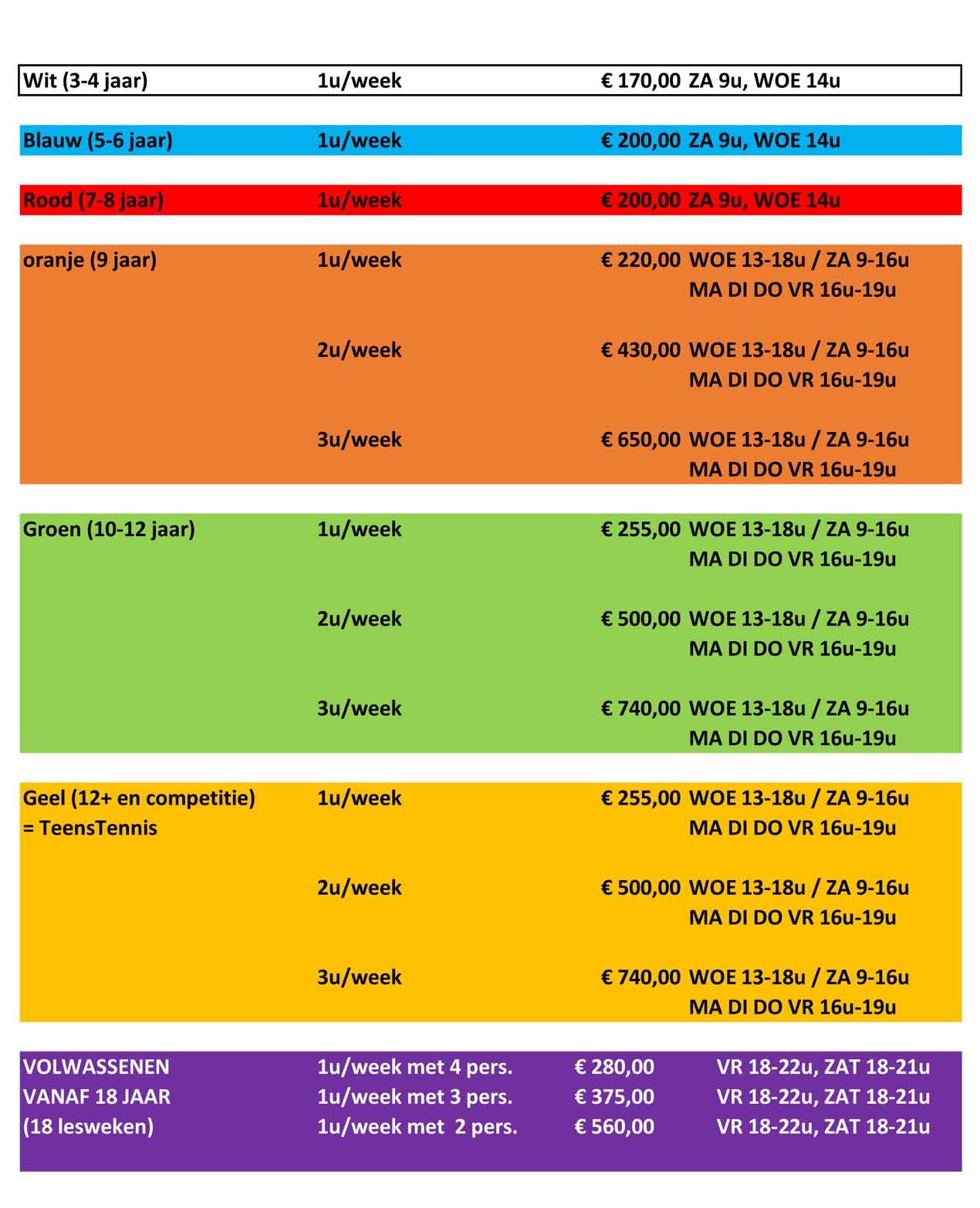 T.C. Machelen-Diegem tarieven winterlessen 2020 - 2021